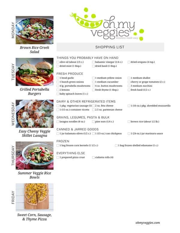 Vegetarian Meal Plan & Shopping List - 06.09.14