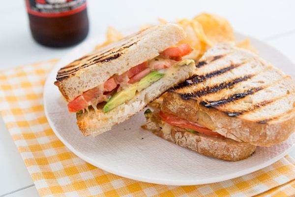 Avocado & Tomato Grilled Cheese Sandwiches