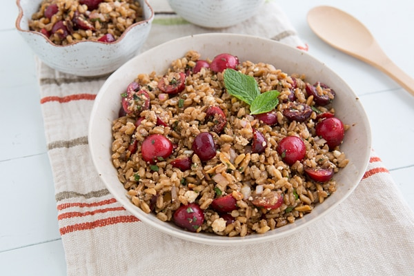 Cherry Almond Farro Salad