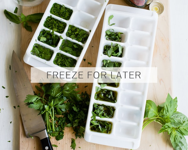 Freeze Herbs in Ice Cube Trays