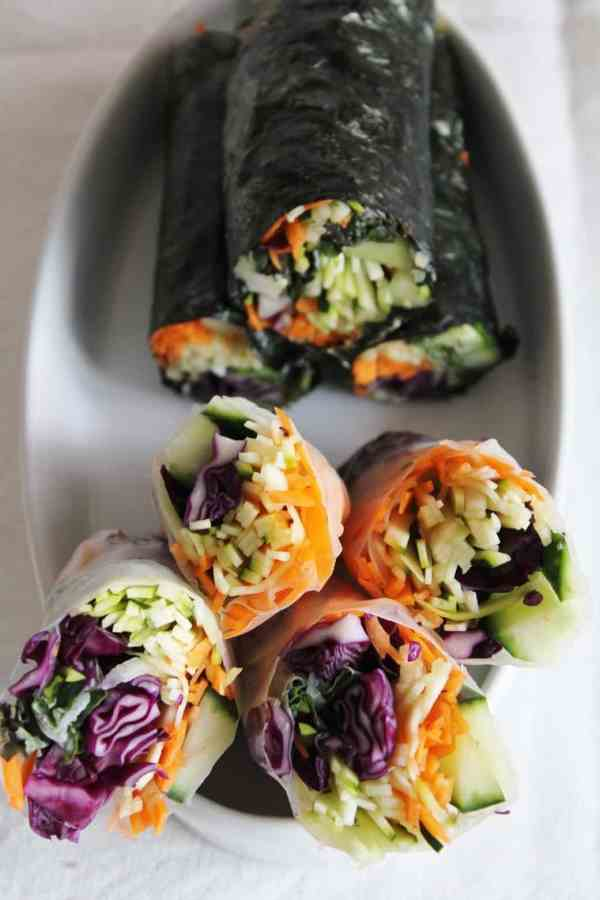 Raw Nori Rolls with Red Cabbage