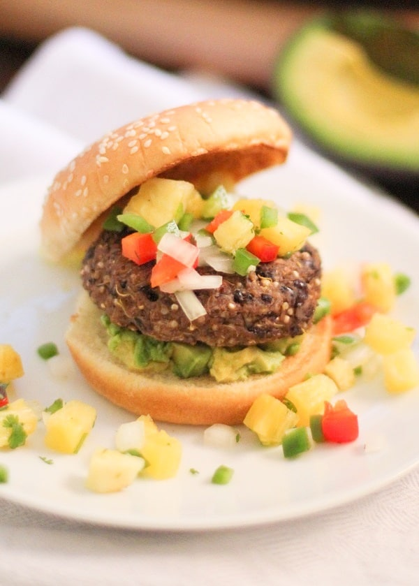 Sprouted Quinoa Black Bean Burgers with Pineapple Salsa