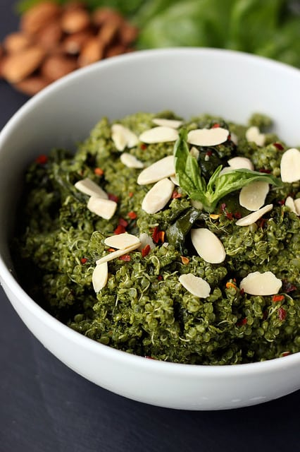 Sprouted Quinoa Bowl with Kale Almond Pesto