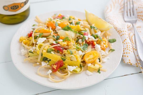 Summer Vegetable Linguine with Feta