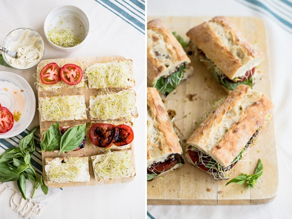 Vegan Caprese Sandwiches with Garlic Cashew Cheese