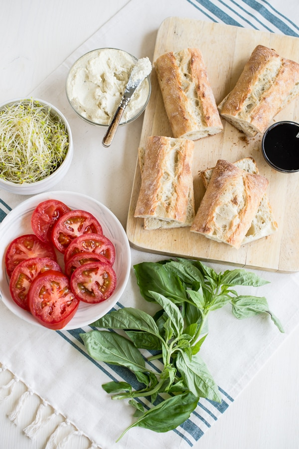 Vegan Caprese Sandwiches with Garlic Cashew Cheese Ingredients