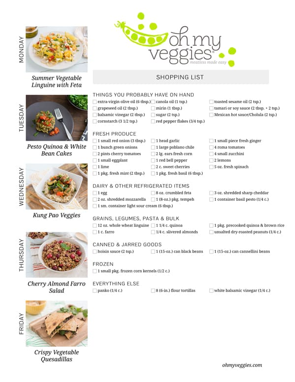 Vegetarian Meal Plan & Shopping List - 06.16.14