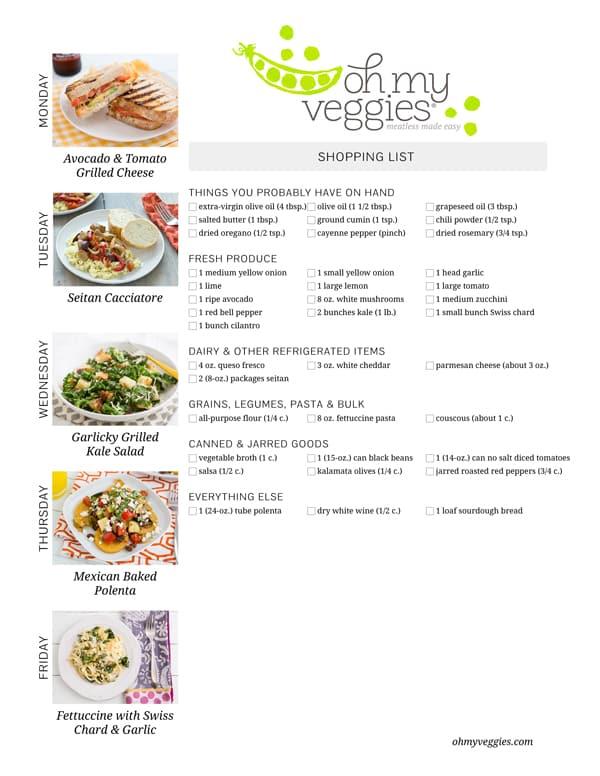 Vegetarian Meal Plan & Shopping List - 06.30.14