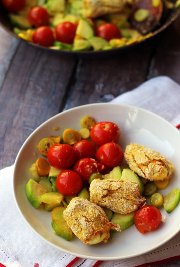 Stuffed Squash Blossoms with Cherry Tomato and Zucchini Ragout