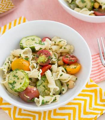 Braised Zucchini, Cherry Tomato, and Chickpea Pasta Recipe