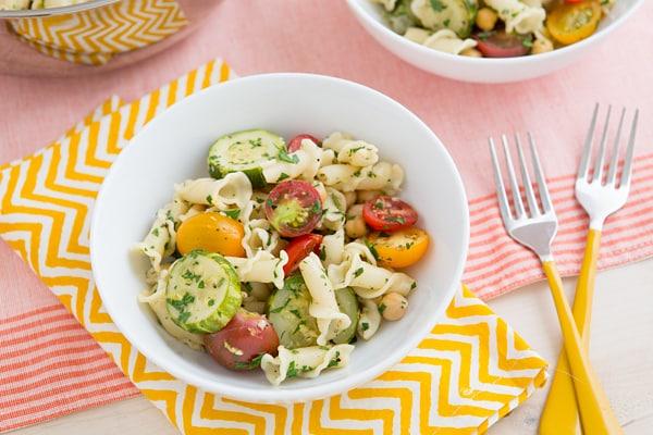 Braised Zucchini, Cherry Tomato, and Chickpea Pasta Recipe