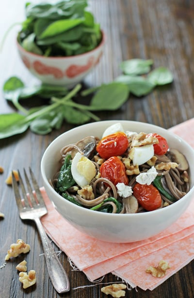 Soba Noodles with Roasted Tomatoes, Mushrooms & Eggs