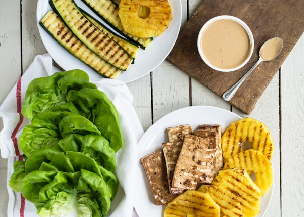 Grilled Teriyaki Tofu Lettuce Wraps