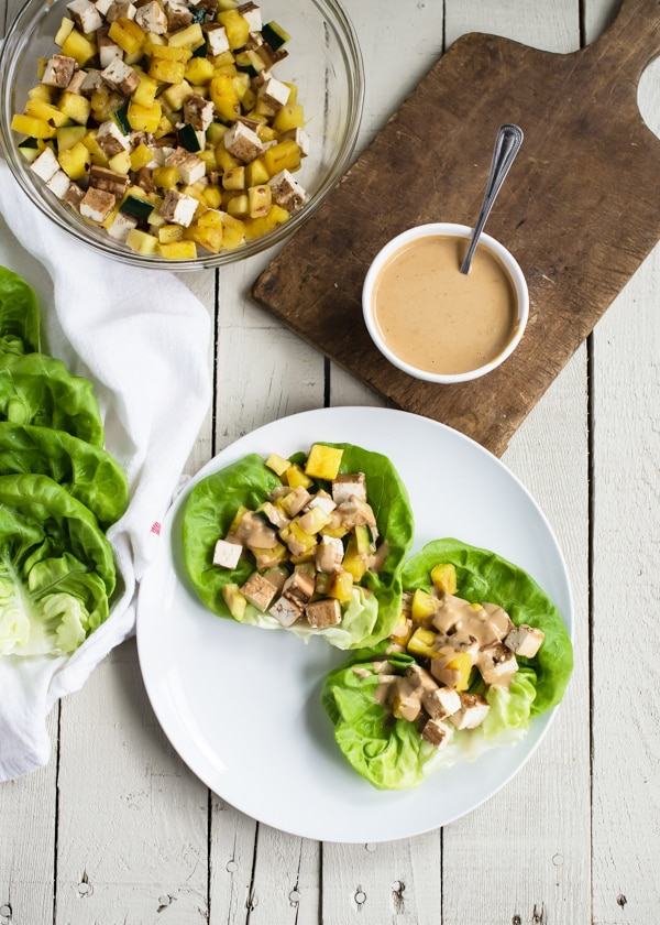 Grilled Teriyaki Tofu Lettuce Wraps with Creamy Sesame Dressing