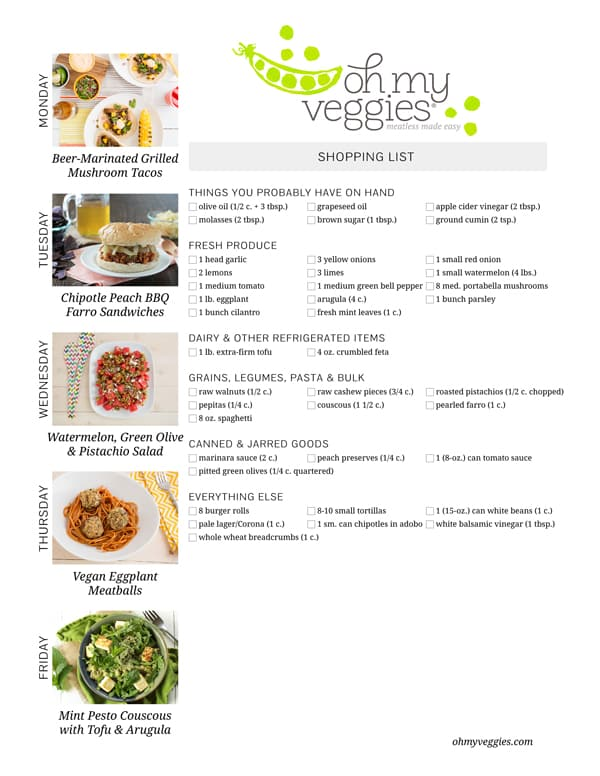 Vegetarian Meal Plan & Shopping List - 07.28.14