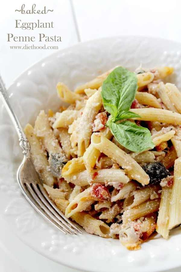 Baked Eggplant Penne Pasta