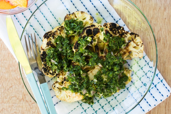 Grilled Cauliflower Steaks with Chimichurri