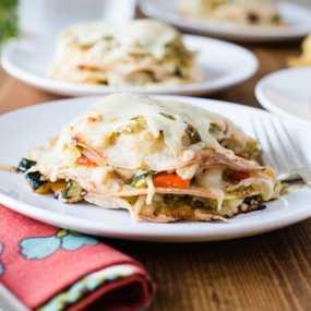 Veggie Enchilada Stacks with Tomatillo Sauce