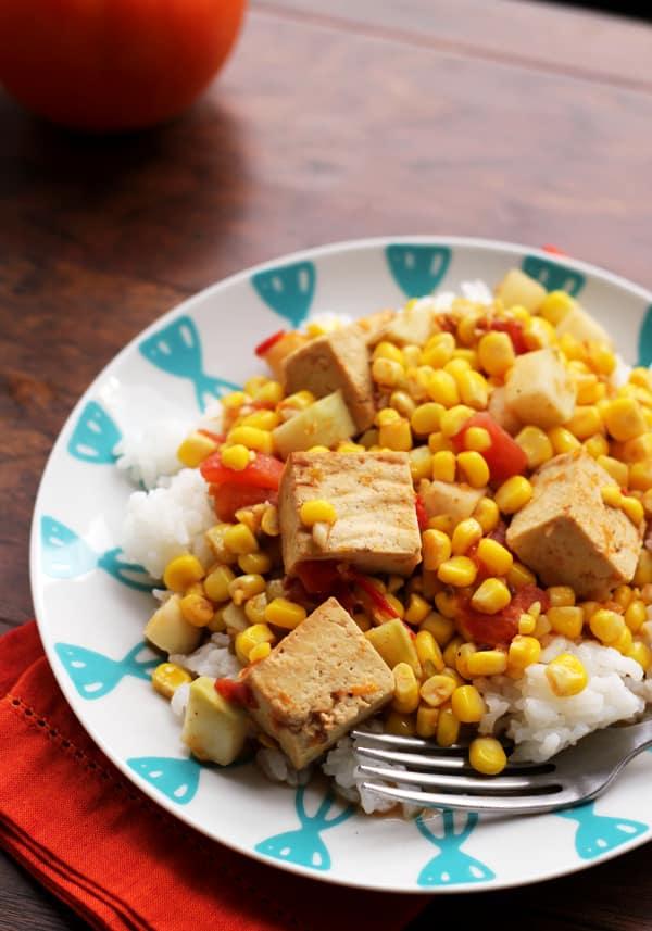 Kohlrabi, Corn & Tofu Curry | Oh My Veggies