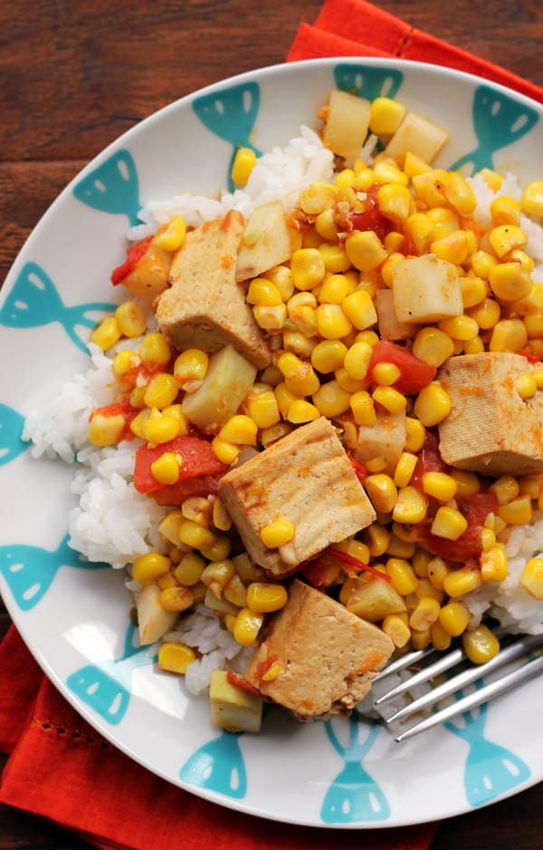 spicy curried kohlrabi, corn, and tofu stir fry