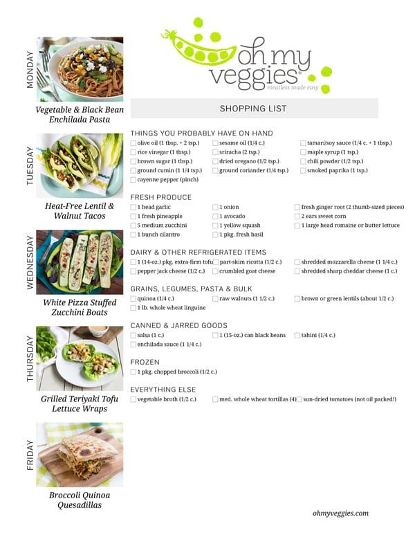 Vegetarian Meal Plan & Shopping List - 09.01.14