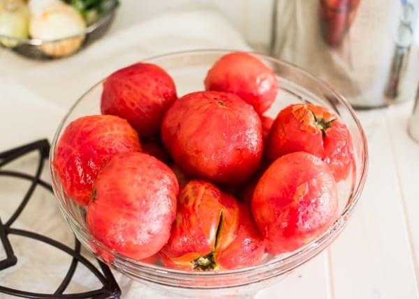 Freezer Tomato Sauce - peeling tomatoes-3