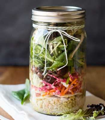 Rainbow Salad in a Jar with Guacahummus
