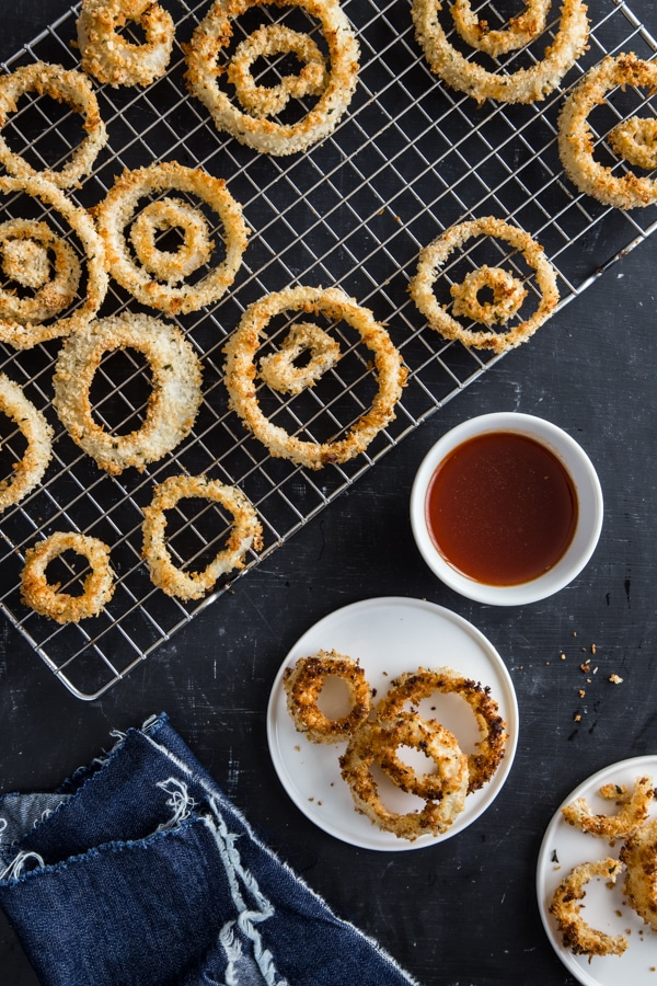 Crispy Baked Coconut Onion Rings with Sweet Chili Sauce
