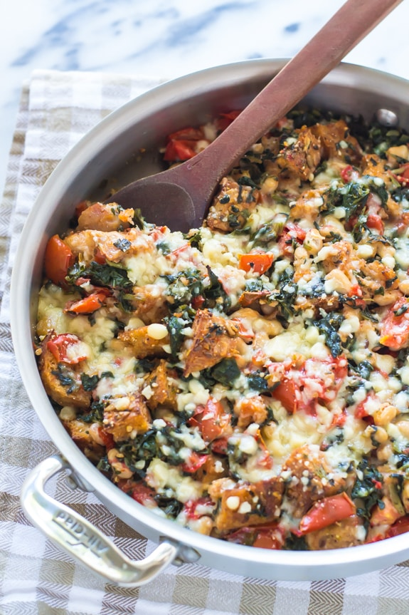 One-Skillet Tomato Casserole with White Beans & Parmesan Croutons