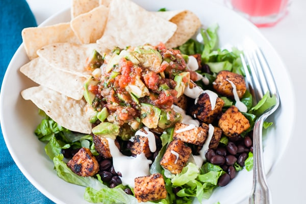Tempeh Black Bean Taco Salad