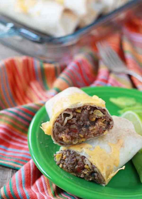 Easy Refried Bean & Cheese Burritos