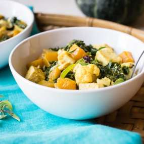 Thai Kabocha Squash Curry with Kale and Cauliflower