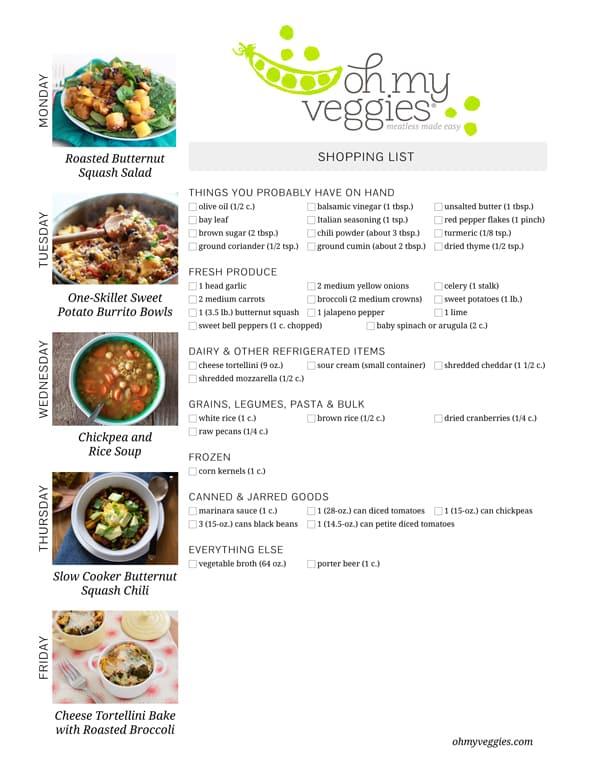 Vegetarian Meal Plan & Shopping List - 10.20.14