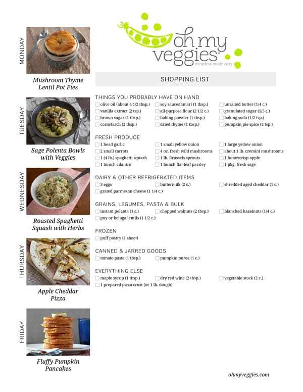 Vegetarian Meal Plan & Shopping List - 10.06.14