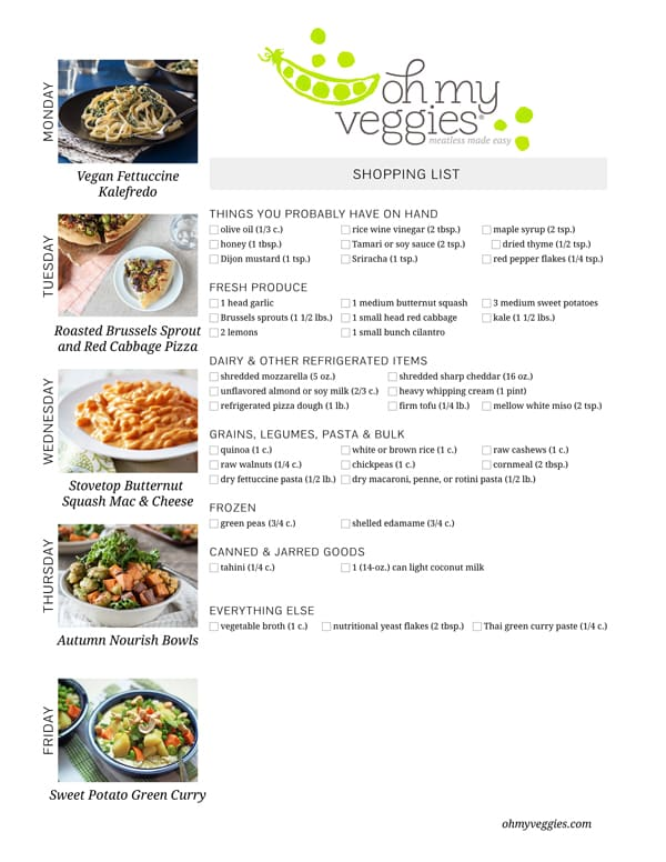 Vegetarian Meal Plan & Shopping List - 12.08.14