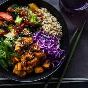 Korean Barbecue Tofu Bowls with Stir-Fried Veggies & Quinoa