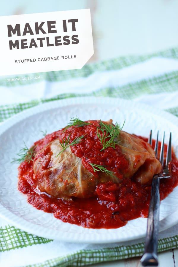 Slow Cooker Mushroom-Lentil Stuffed Cabbage Rolls