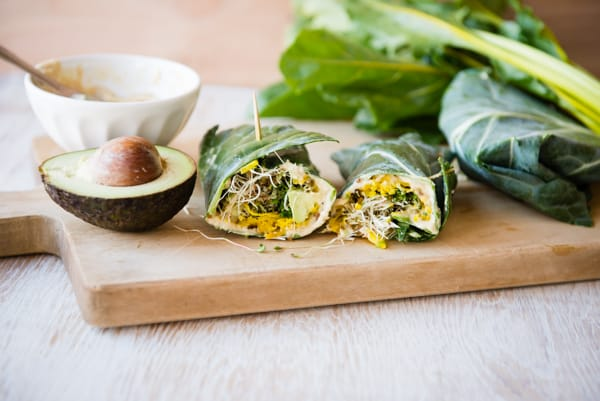 Collard Hummus Wraps with Golden Beets