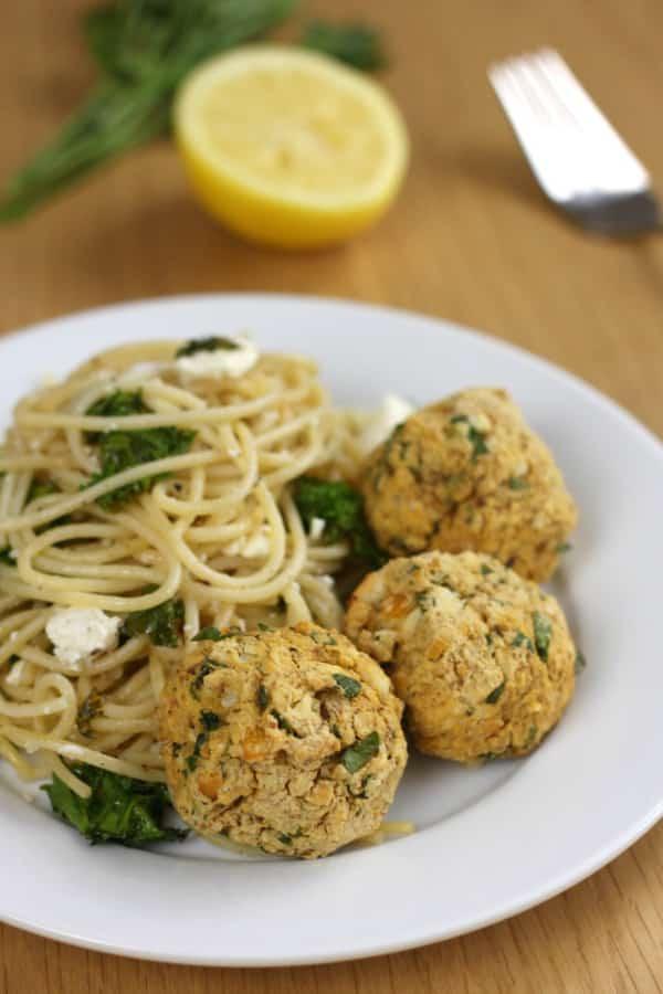 Lemon Feta Chickpea Meatballs