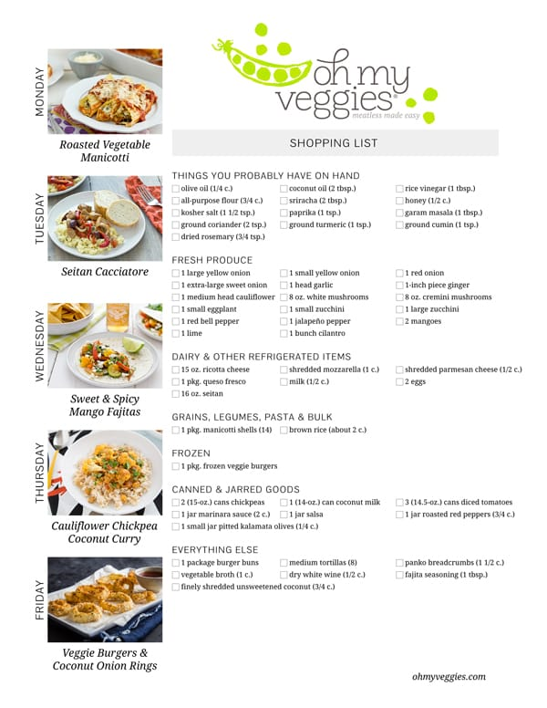 Vegetarian Meal Plan & Shopping List - 02.16.15