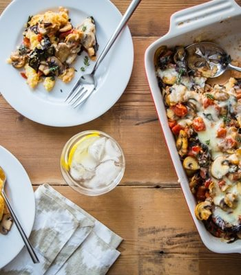 Rustic Polenta Casserole with Mushrooms and Swiss Chard