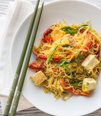 Singapore Noodles with Pan-Fried Tofu Recipe