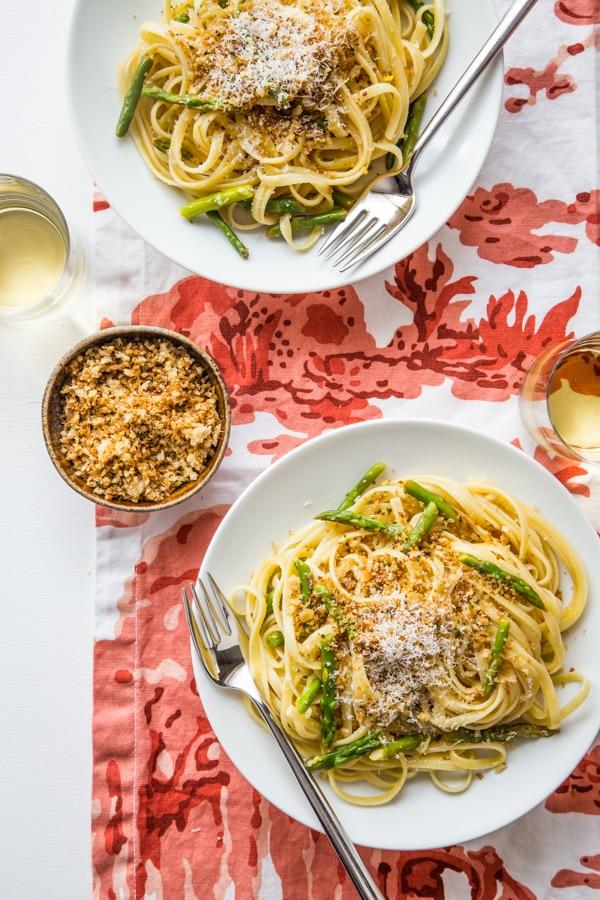 Lemon Asparagus Linguine with Garlicky Panko