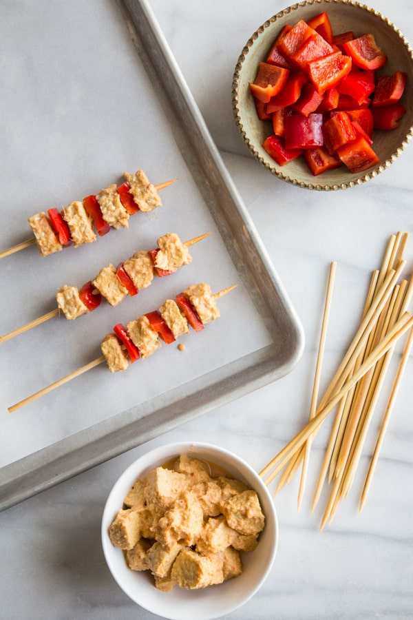 Tempeh Satay with Peanut Dipping Sauce