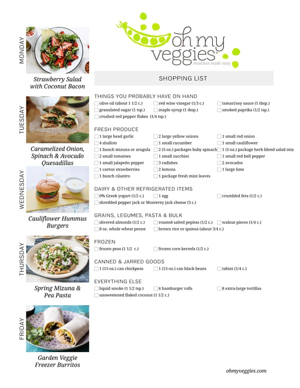 Vegetarian Meal Plan & Shopping List - 04.06.15