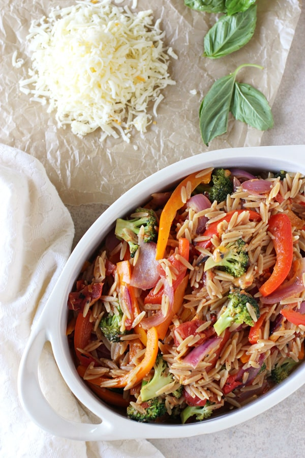 Cheesy Broccoli and Pepper Baked Orzo