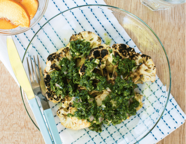Grilled Cauliflower Steaks with Chimichurri Sauce