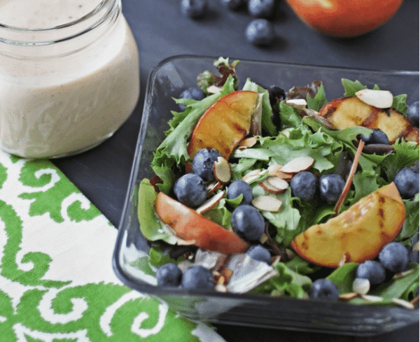 Grilled Peach Salad with Goat Cheese Dressing