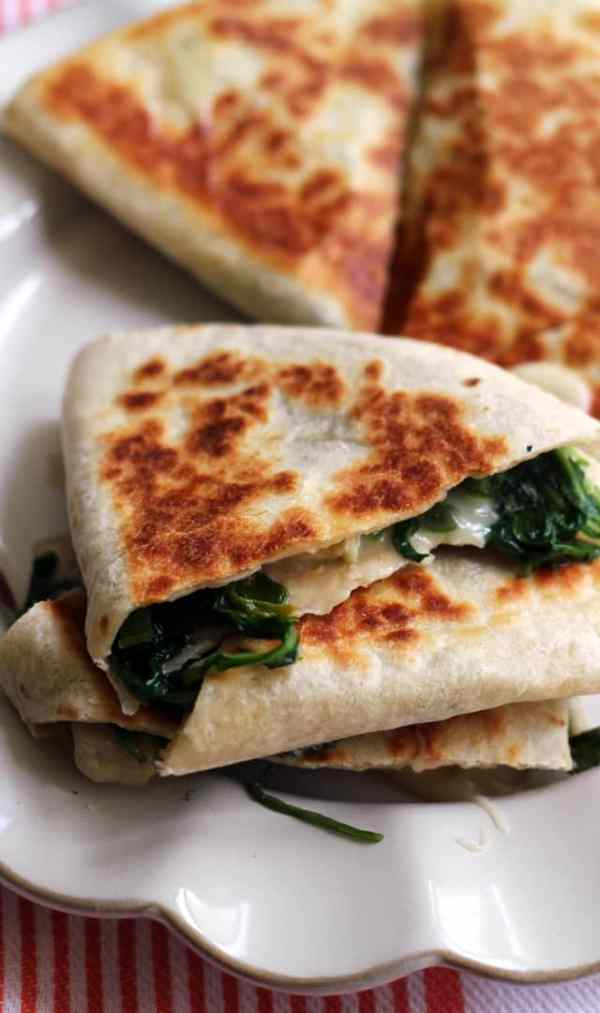 Greens, Brie and Jalapeño Quesadillas