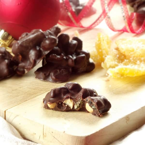 Chocolate Covered Candied Ginger Peanut Clusters